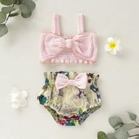 US Summer Newborn Baby Girl Clothes Bow Vest Tops+Floral Shorts Outfit Sunsuit