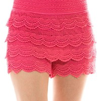 Multi Layered Crochet Lace Tiered Cropped Scallop Hem Waistband Stretch Mini Shorts
