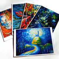 A Set of Small Postcards 5 Acrylic Colourful Expressionistic Impressionistic Modern Estonian Nature Park Painting by Kelli Gedvil