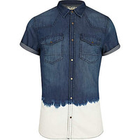 Blue bleached dip dye denim shirt