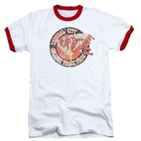 DC Comics Men's  Central City Track T-shirt White Rockabilia