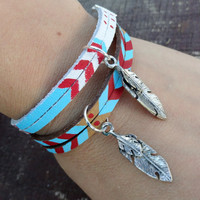 You Choose Suede Bracelet with Turquoise and Red Arrows Feather