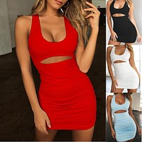 2019 new sexy pleated strap ladies dress