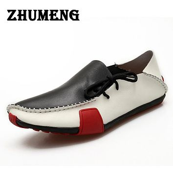 Men Casual Shoes Genuine Leather Men Sneakers Shoe Red Bottom Men