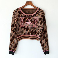 FENDI Newest Popular Women Casual Jacquard Long Sleeve Roubd Collar Top Sweater Coffee/Pink