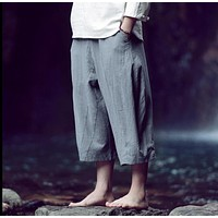 HOT 2016 Summer new line loose casual pants calf length wide leg pants men's clothing harem pants hairstylist costumes