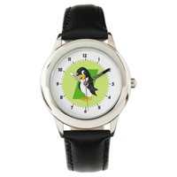 Cute penguin cartoon wrist watch