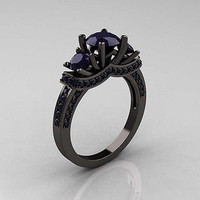 0.70ct Black Round  cut solitaire sterling silver wedding ring with free ship1