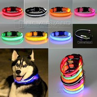 Dog Supplies USPS Shipping 8 Color S M L Size Glow LED Collar Night