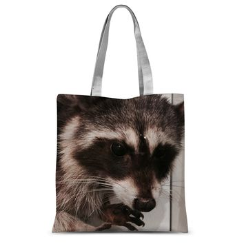 Taxidermy Raccoon Tote Bag