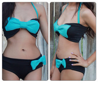 ANIME- Black & Blue Bow Bikini/ Swim Suit, Swim wear, Sexy Bikini