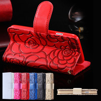 i6 Plus/6S Plus PU Leather Cases Card Slot Wallet With Strap Phone Case For iPhone 6 Plus 5.5inch / 6S Plus Fashion Flower Cover