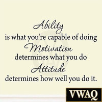 Ability is What You're Capable of Doing Inspirational Wall Decal Sports Quotes
