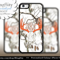 Orange Antlers Monogram iPhone 5C 6 Plus Case Browning iPhone 5s iPhone 4 case Ipod White Camo Deer Personalized Country Inspired Girl