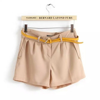 Pleated A-Line Pocket Shorts With Belt