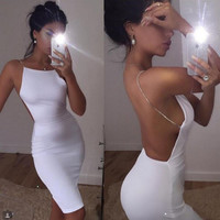 Fashion  Solid Color Sleeveless Backless Diamond Strap Tight Mini Dress