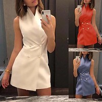 2020 new women's double breasted sexy slim casual sleeveless stand collar dress