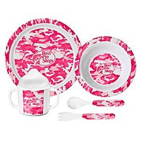 Bass Pro Shops 5-Piece Dining Set for Kids - Pink Camo