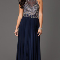 Floor Length Sleeveless Dress with Sheer Bodice by Dave and Johnny