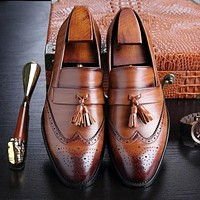 Men Dress Leather New Fashion Flat Slip on Shoes