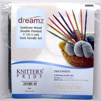 """Knitters Pride Symfonie Wood Double Point 5"""" Sock Knitting Needle Set with Case"""