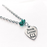 Stainless Steel Jewelry - Stainless Necklace - Book Lover Jewelry - Book Gift - Gift for Readers - Book Pendant - Heart Charm