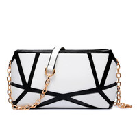 2016 summer new fashion chain bag lady patchwork small cluches purse women party clutch bag high quality PU leather handbag T151