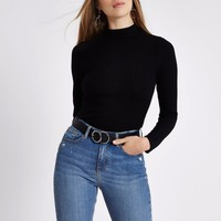 Black ribbed high neck fitted top - T-Shirts & Tanks - Sale - women
