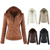 Women collar hoodie outwear leather jacket
