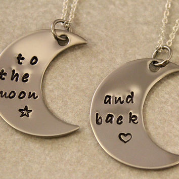 Love You To the Moon and Back - Best Friend Necklaces - Best Bitches Jewelry - Hand Stamped Jewelry - Stainless Steel