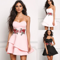 Sexy Embroidery Printing Dress