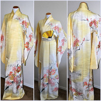 Authentic Japanese Silk Kimono Robe Vintage Embroidery Gold Silver Cherry Blossom Floral Weddings Bridal Cover up Geisha Gown