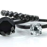 Black Tie Affair Stacking Ring set - Black Spinel, Clear Quartz, Bubble Ring