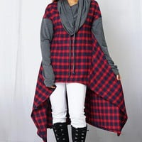 2018 Fall Women's Hi Low Red & Navy Sweater Hooded Dress