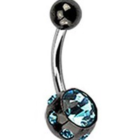 Black Titanium Plated Studded Aqua CZ Gems Ball Navel Ring Belly Button Piercing Jewelry