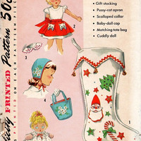 Simplicity 1950s Sewing Pattern Sock Full of Gifts Christmas Stocking Apron Baby Doll Tote Bag Holiday Craft One Size