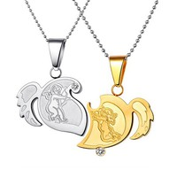 Engravable Split Heart Sisters Love Necklaces Set for 2