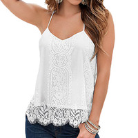 Plus Size Blusas 2016 Summer Fashion Women Tops Casual Sexy Lace Beach Tank Tops V Neck Sleeveless Solid White Camisole