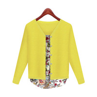 Floral Print Long Sleeve Buttoned Cardigan