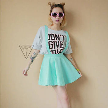 Women Suspender Skirt Pastel Skater Flared Pleated Mini Dress Belt Waist