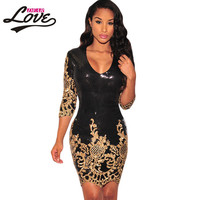 vetement vintage retro autumn winter Embroidered dress Party Black Victorian Gold Sequins 3/4 Sleeves Bodycon Dress LC22794