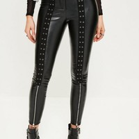 Missguided - Black Lace Up Zip Detail Faux Leather Leggings