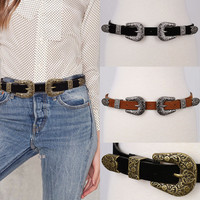 Blow Bri Bri Faux Suede Belt Antique Metal DOUBLE BUCKLE Western Fashion Long