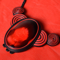 Handmade designer genuine leather and cow horn necklace in red and black colors