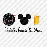 Mickey Mouse Drinking Around the World Epcot  Disney Vacation Trip Printable Digital Iron On Transfer Clip Art DIY Tshirts Instant Downlo