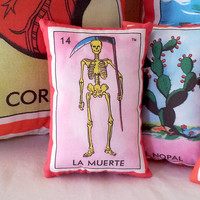 La Muerte Death Skeleton Mexican Loteria Mini Pillow - Tuck Pillow or Bowl Filler, Dia De Los Muertos / Day of the Dead