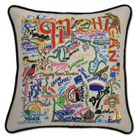 Michigan Hand Embroidered Pillow