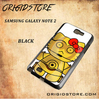 C3PO Hello Kitty Star Wars Black White Snap On 3D For Samsung Galaxy Note 2 Case