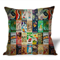Vintage Poster Disney on Square Pillow Cover