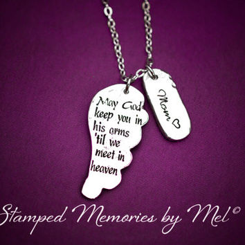 May God Keep You in His Arms - Hand Stamped Pewter Necklace - Memorial Jewelry - Angel Wing - Personalized Remembrance - In Memory Of